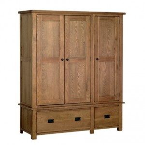 Rustic Oak Gents Triple Wardrobe
